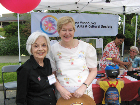 Lorna Gibbs and the Honorable Suzanne Anton at the SVSACS display booth, Champlain Heights Community Centre Summer Fair, June 7, 2014. Photo: George Grant