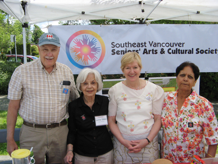 Left to right: George Grant, Lorna Gibbs, the Honorable Suzanne Anton and Ramesh Kalia at the SVSACS display booth, Champlain Heights Community Centre Summer Fair, June 7, 2014. Photo: George Grant