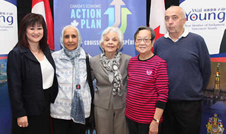 MP Wai Young with community and seniors advocates Ms. Mohinder Sidhu, Ms. Lorna Gibbs, Mrs. Shin Wan Hon, and Mr. Keith Jacobs.