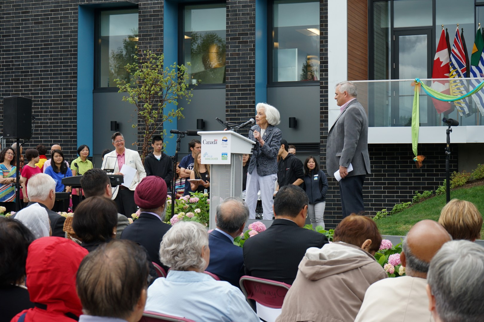 Lorna Gibbs speaking at the Grand Opening, June 28, at Killarney Community Centre. Photo: Willie Yeung